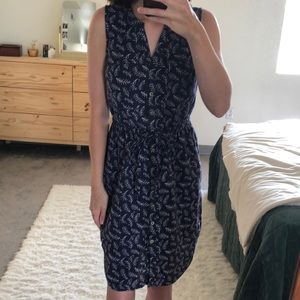 Navy Patterned Shift Dress